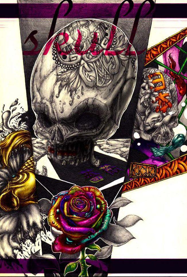薔薇、髑髏、鯉(Rose、Skeleton、Carp)