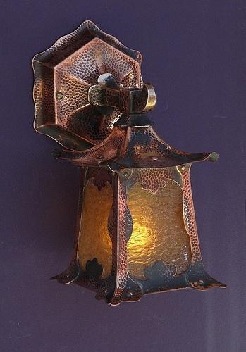 Antique Asian Influenced Porch Light. Original Glass, Hand Hammered Copper  And Brass.