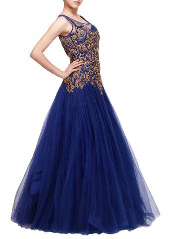 Blue color net gown with golden work – Panache Haute Couture