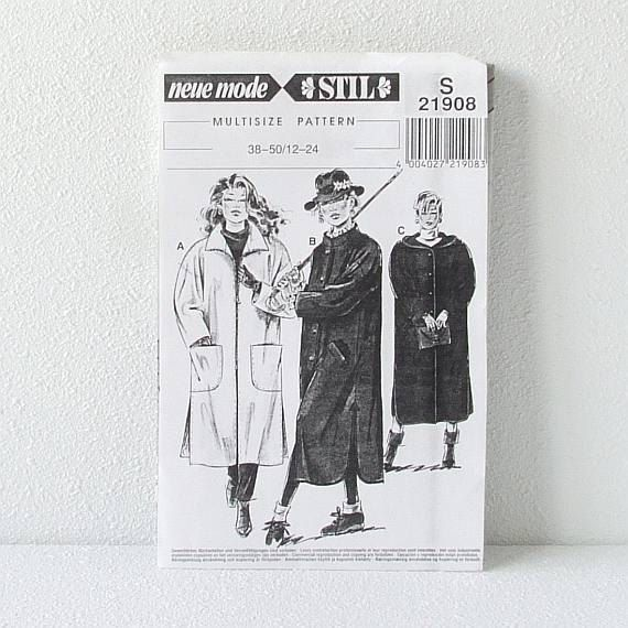 Coat Sewing Pattern Woman Coat Sewing Pattern by CraftSuppliesDesk