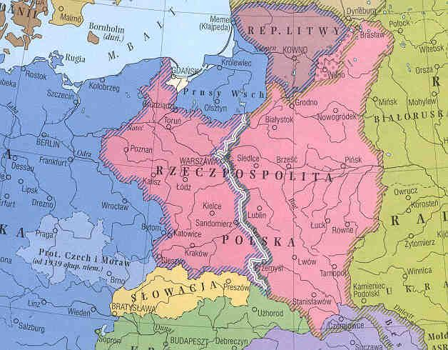 Map of the partition of Poland after the Molotov-Ribbentrop Pact