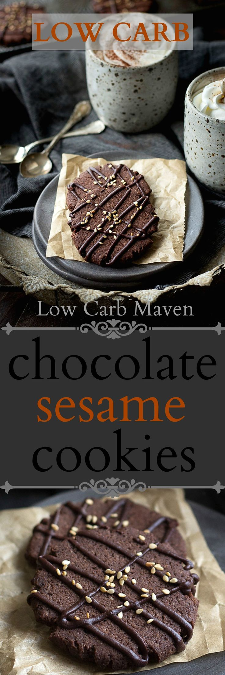 Low carb chocolate sesame cookies have a crispy texture & taste like brownies!