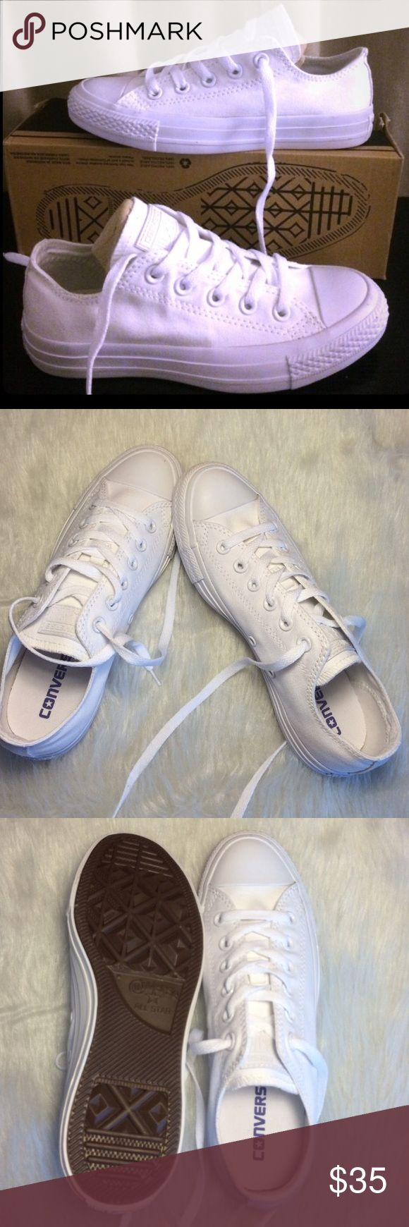 CONVERSE WOMENS ALL WHITE SIZE 8 SHOES LOW TOPS ✨ All white low top 100% authentic Womens size 8 shoes, in like new condition. Without box. ✨ PRICE IS FIRM! Converse Shoes Sneakers