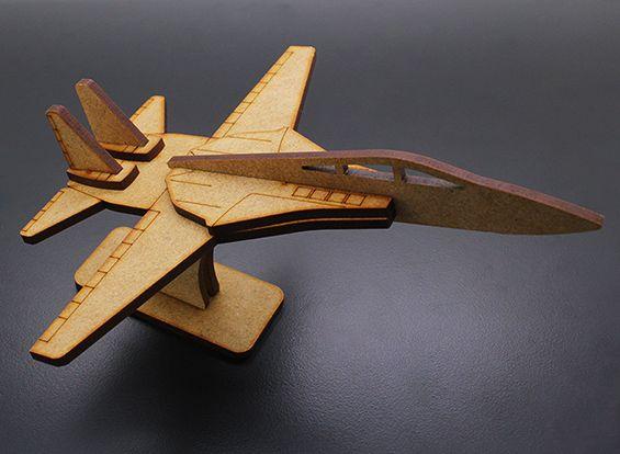 Military Jet Airplane Laser Cut Wood Model Kit Nice