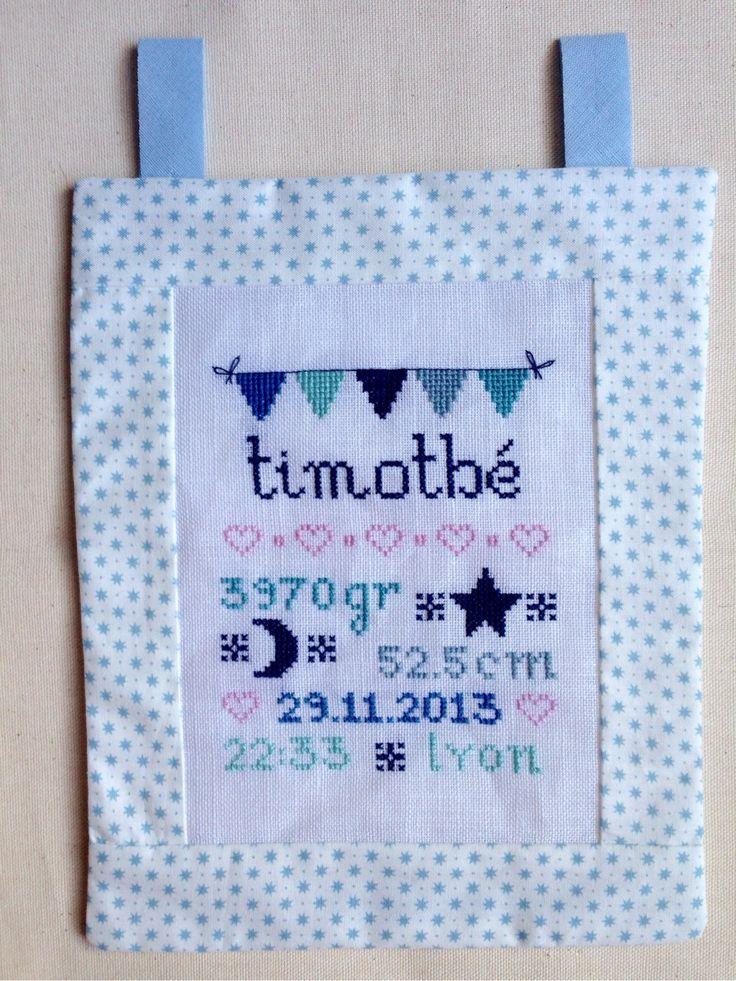 Tableau de naissance personnalisé - point de croix : Chambre d'enfant, de bébé par malou-et ...
