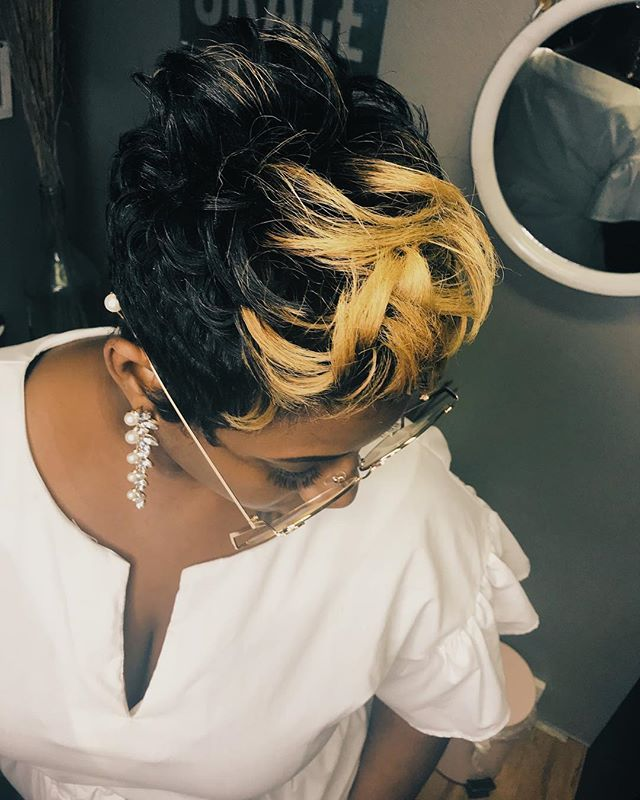 Pin By Mimij Haute Hair On Black Short Hairstylist In Dallas Natural Hair Salons Short Pixie Haircuts Short Hair Styles