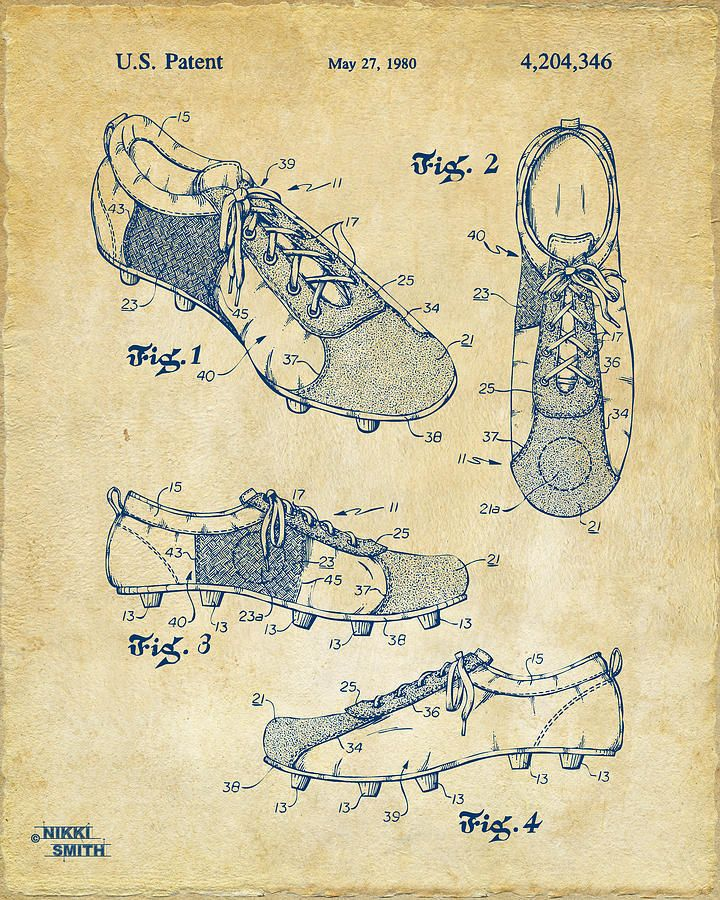 1980 Soccer Shoes Patent Artwork - Vintage Drawing
