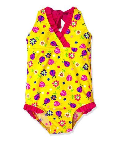 Another great find on #zulily! Yellow Ladybug One-Piece - Toddler & Girls #zulilyfinds