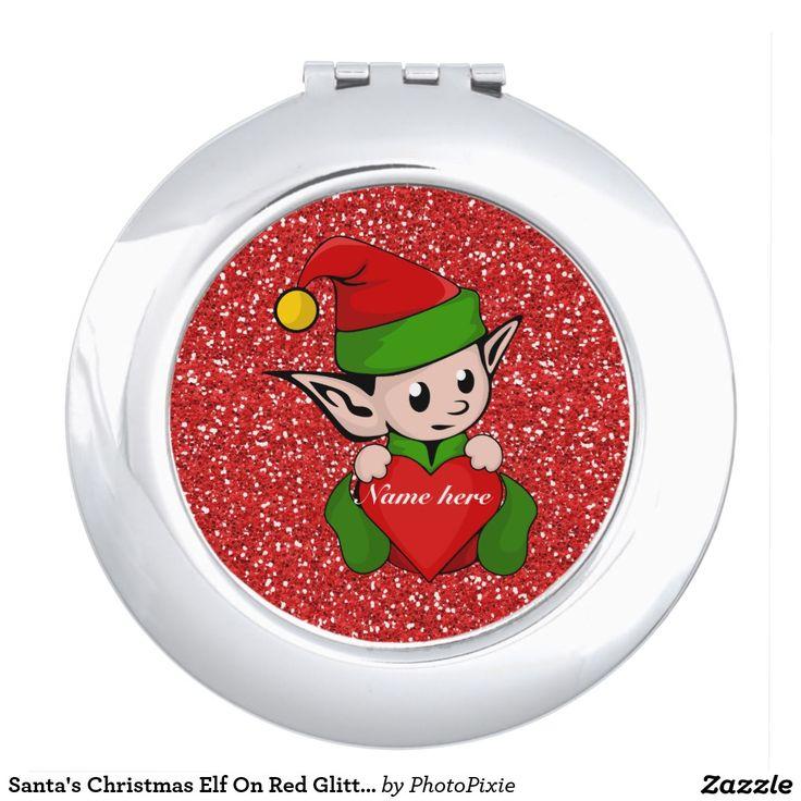 Santa's Christmas Elf On Faux Red Glitter