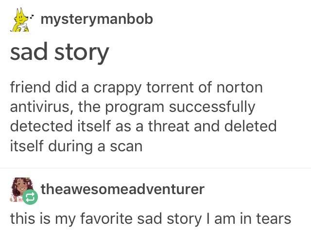 Sad story friend did a crappy torrent of norton antivirus, the program successfully detected itself as a threat and deleted itself during a scan this is my favorite sad story l am in tears | lol Tumblr