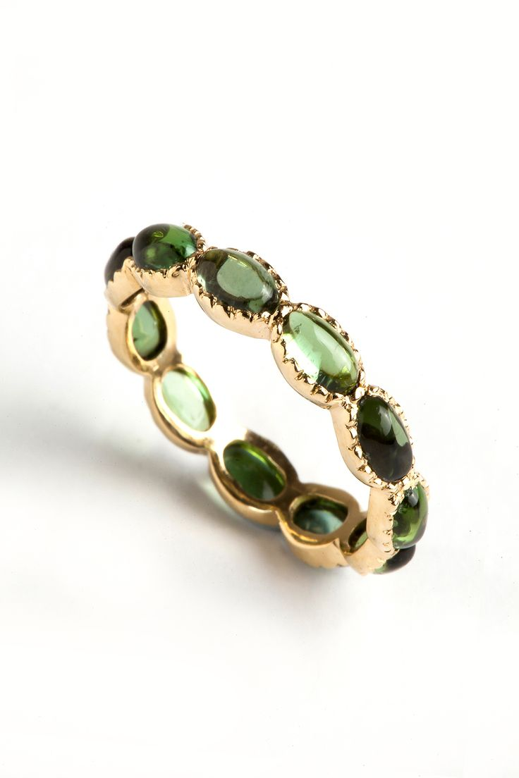 Hania Kuzbari Freestyle Collection ring // 18K yellow gold and green tourmaline // http://haniakuzbari.com/freestyle.php