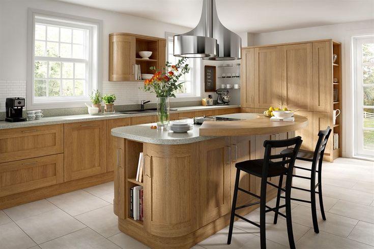 Oak Wood Shaker Kitchen - Silestone worktops