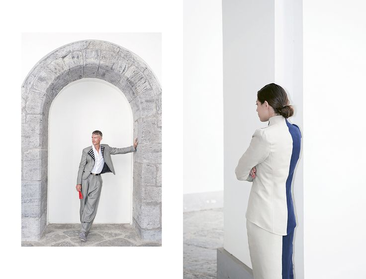 man: single-breasted linen jacket; high-waisted linen pants. woman: high-waisted linen skirt; bustier-jacket with puff sleeves simonanapolitanoatelier.com_LINE-N