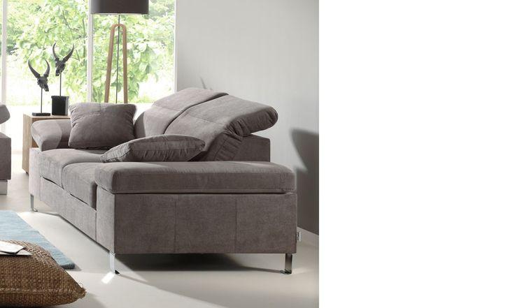Canapé 2 places en tissu gris PHILADELPHIE