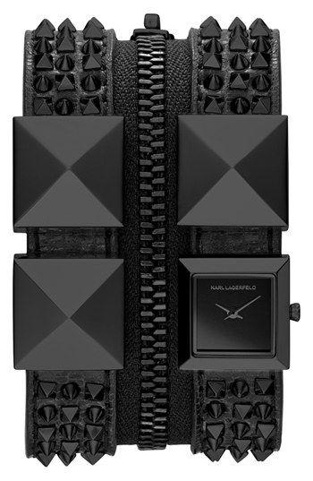 KARL LAGERFELD Double Strap Cuff Watch   Nordstrom