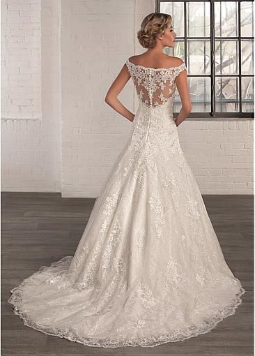 Gorgeous Tulle Off-the-Shoulder Neckline A-line Wedding Dresses with Lace Appliques