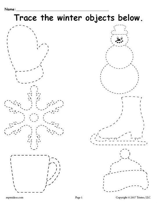 Free Printable Winter Tracing Worksheet Preschool January