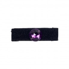 Anello in velcro nero foderato in gros grain con pietra viola sfaccettata riposizionabile