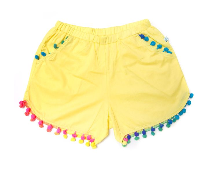 Alex and Ant Pom Pom Shorts Yellow Size 3 - 8