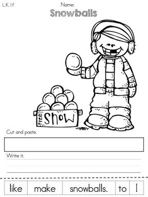 kindergarten winter literacy worksheets common core aligned snowball literacy and literacy. Black Bedroom Furniture Sets. Home Design Ideas