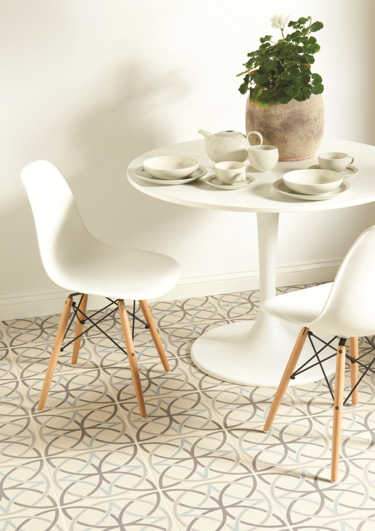 These sweeping, circular Breton tiles certainly make an impression! The design from the Odyssey collection combines circles with floral shapes to great effect. Breton is shown here in Light Grey, Dark Grey and Denim.