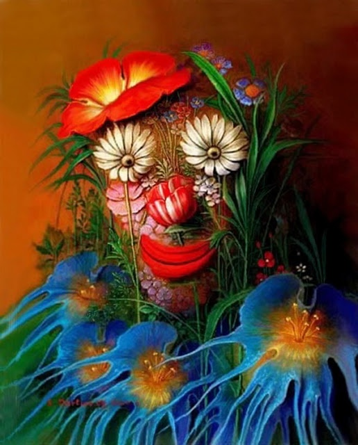 Flower face illusion http://optischeillusies.blogspot.nl/2013/04/optische-illusies-in-de-kunst.html