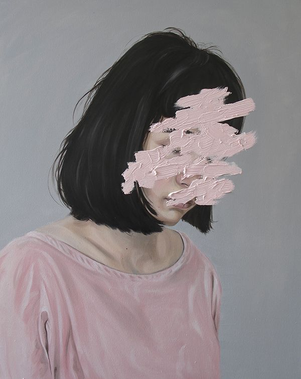 moody painted portrait dark haired girl in pink sweater