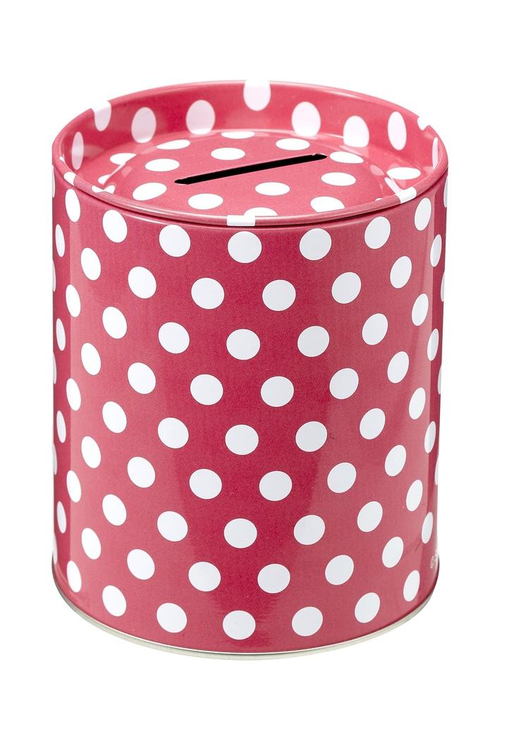 Hot pink polka dots money tin