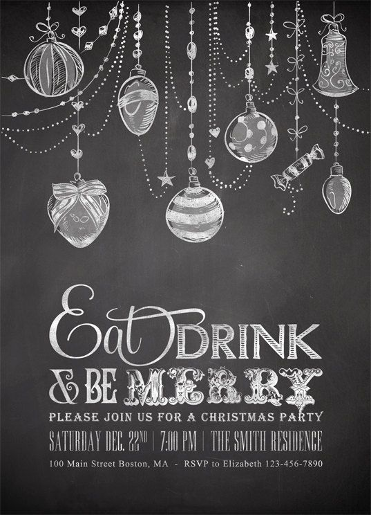Printable Chalkboard Christmas Invitations with by plpapers, $15.00