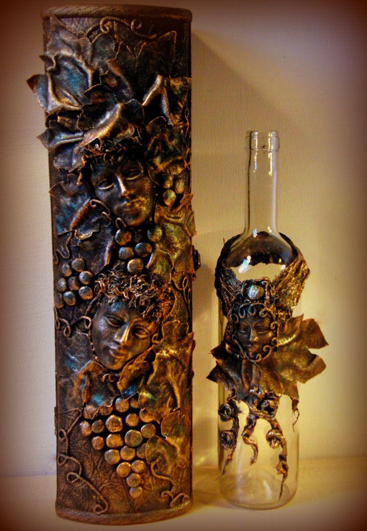 wine storage box and bottle decoration