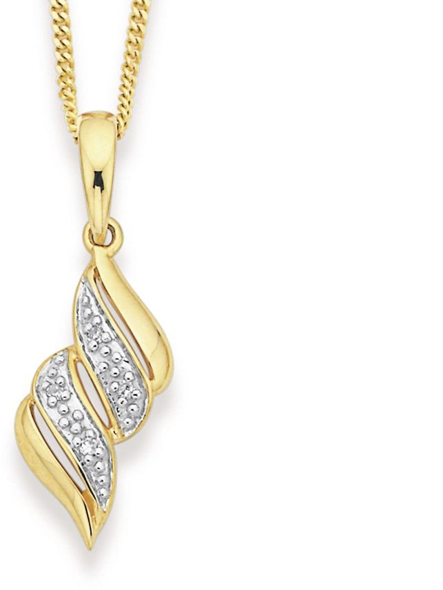 9ct Diamond Twist Pendant