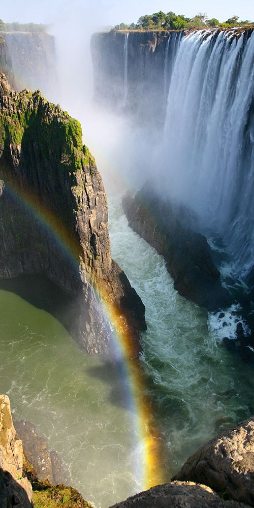 The Victoria Falls is without doubt one of the grandest natural spectacles in Zimbabwe, it's the country's most popular tourist destination and one of the greatest natural wonders of the world. The Fall's mile-wide curtain of water plunges deep into the gorge creating a cloud of mist that can be seen up to 20 miles away!