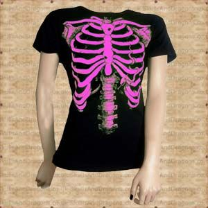 A fantastic pink skeleton on a black cotton ladies fitted t shirt. The Pink Skeleton Ladies T Shirt by Omen clothing in the Skulls and Dragons clothing range.    Made from cotton    Ref : SDABZ602   Price : 34.99 GBP
