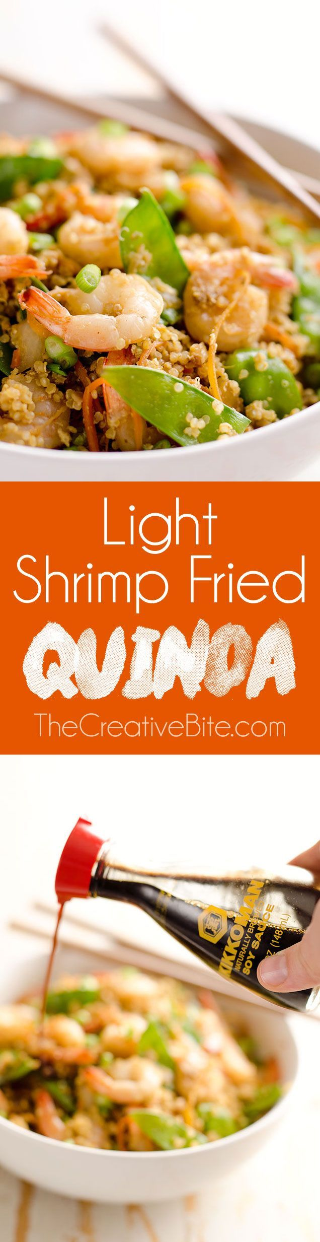 Light Shrimp Fried Quinoa is a healthy 30 minute dinner full of protein packed…