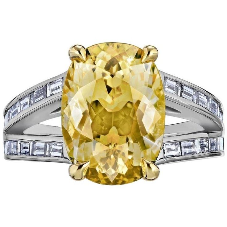 8.55 Carat Cushion No Heat Natural Yellow Sapphire Ring AGL Certified   From a unique collection of vintage engagement-rings at https://www.1stdibs.com/jewelry/rings/engagement-rings/