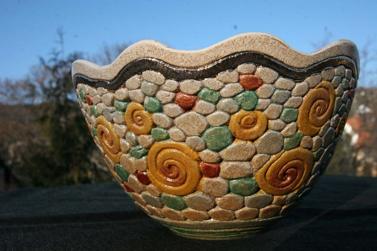 Bukran Unique Arts and Crafts Bowl 16 Birthday Gold Flower Hand Painted Handmade Gift Hungarian Present Ceramics Original Fruit Candy. $89.00, via Etsy.