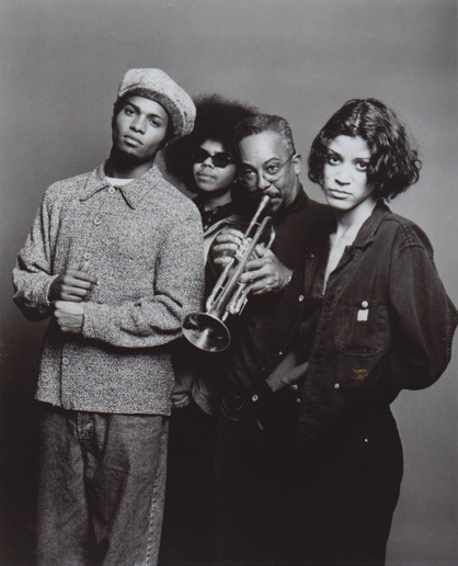 DIGABLE PLANETS with LESTER BOWIE. Promo photo for the non-profit organization Red Hot & Cool LP in 1994...