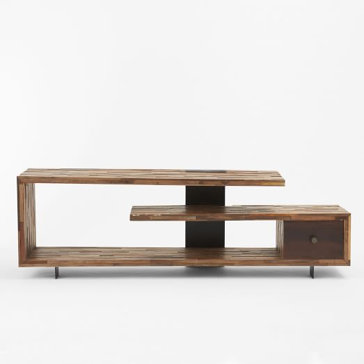 Staggered Wood Console   West Elm. Still too expensive at $1K