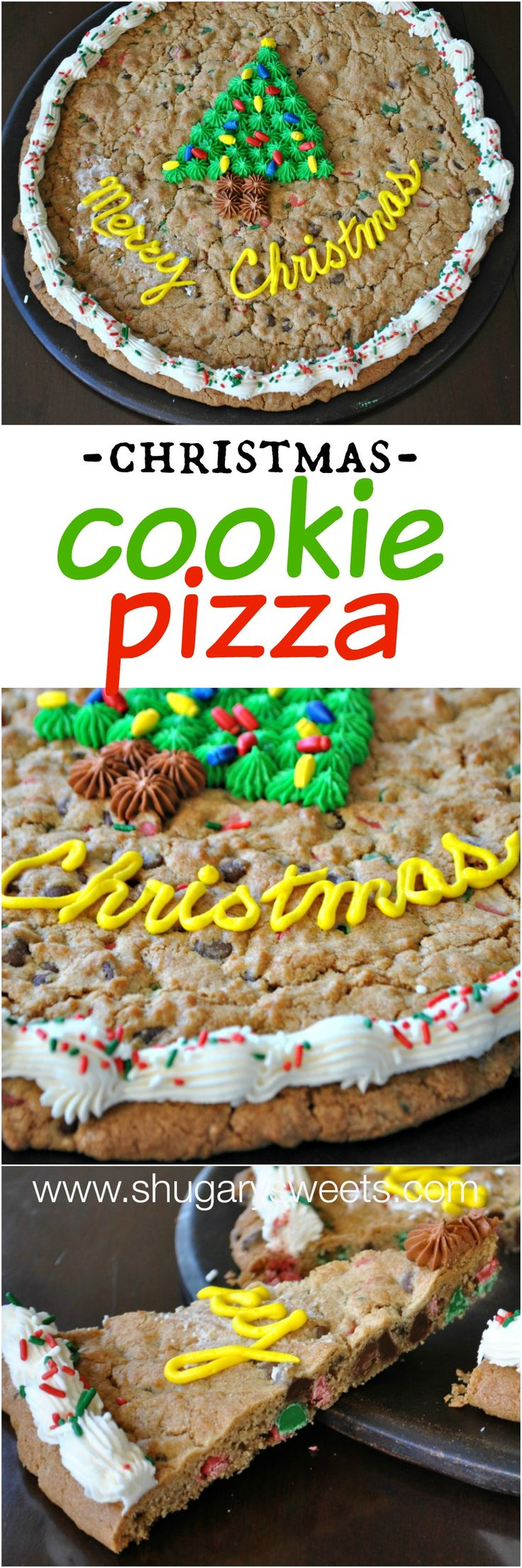 Christmas Cookie Cake- celebrate the holidays with a homemade cookie pizza!