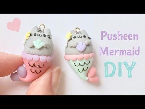 Kawaii Pusheen Mermaid Charm polymer clay tutorial