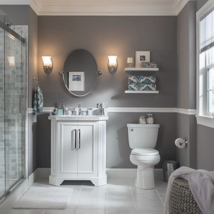 a pair of wall sconces perfectly frame this bathroom mirror select vanity lights based on - Bathroom Ideas Gray