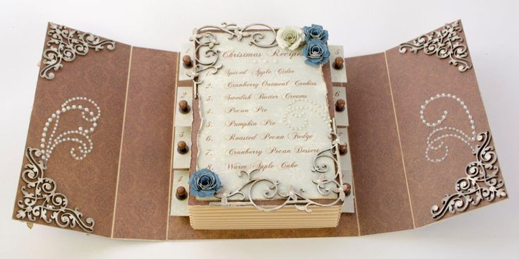 This is one of two versions of this.  She has made a sliding recipe book.  This is for those holiday recipes and such that are handed down generations.  It is such a great idea but also it is so beautiful, just as everything else this lady makes.  Talent beyond belief!!