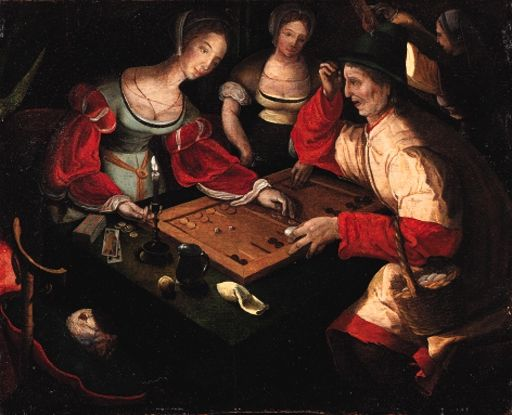 Lucas van Leyden - Figures playing backgammon in...