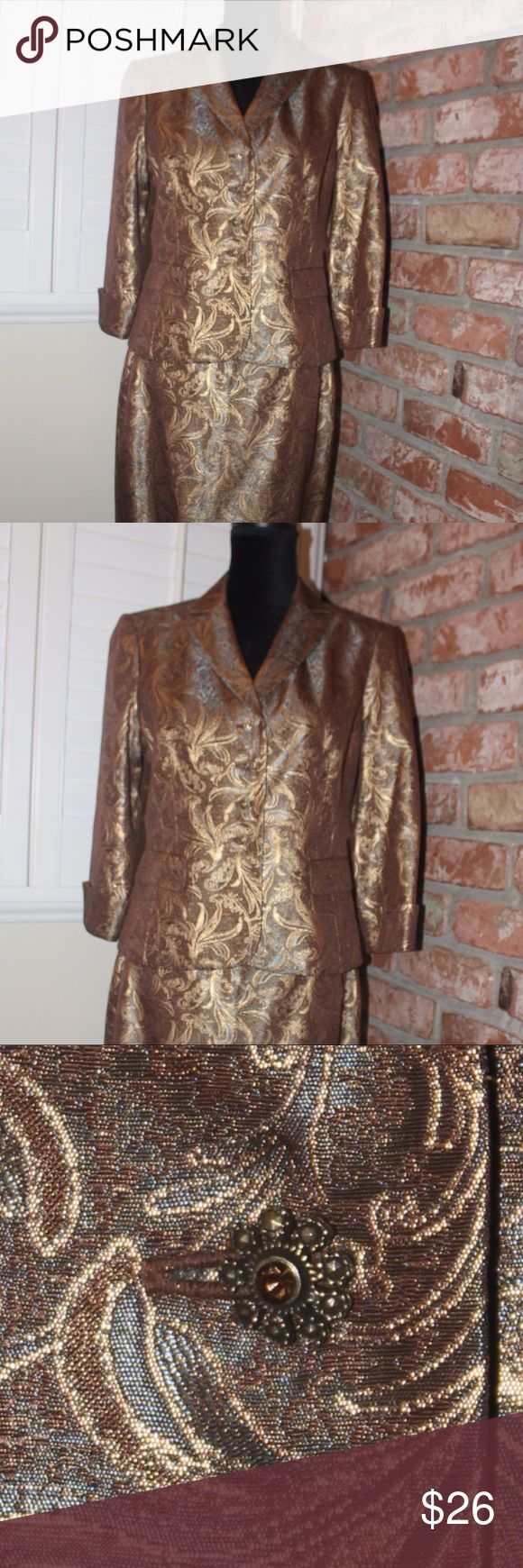 Classy Gold Two-Piece Gold with turquoise highlights - brocade type material (94% Acetate/6% Metallic) - Beautiful! It has beautiful buttons, small shoulder pads, and although she looks stiff in the pics, once you put her on and get moving, she will form to your curves and look fabulous! Great condition - happy to answer any questions! Jones New York Skirts Midi