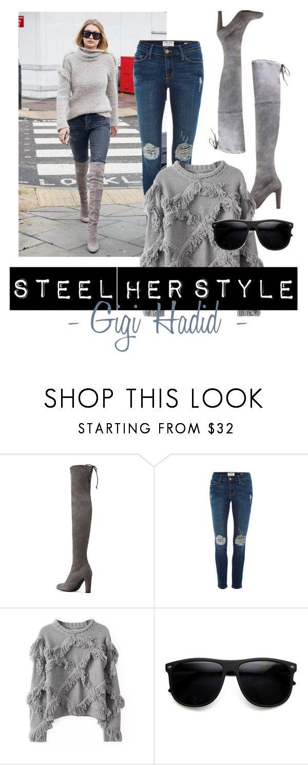 """Steel her Style - Gigi"" by stylebycharlene on Polyvore featuring Stuart Weitzman, Frame Denim, women's clothing, women's fashion, women, female, woman, misses and juniors"