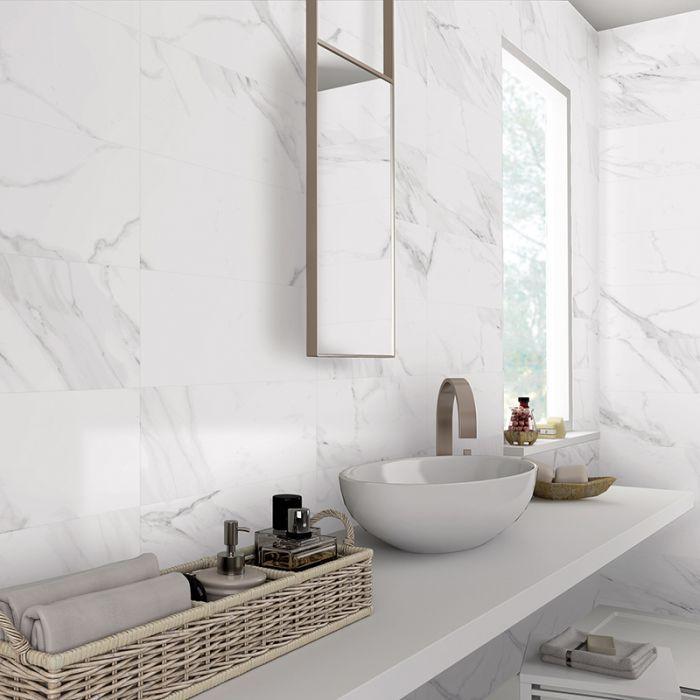 White Marble Effect Matt Porcelain Wall And Floor Tile In 2020 Marble Tile Bathroom Marble Wall White Marble