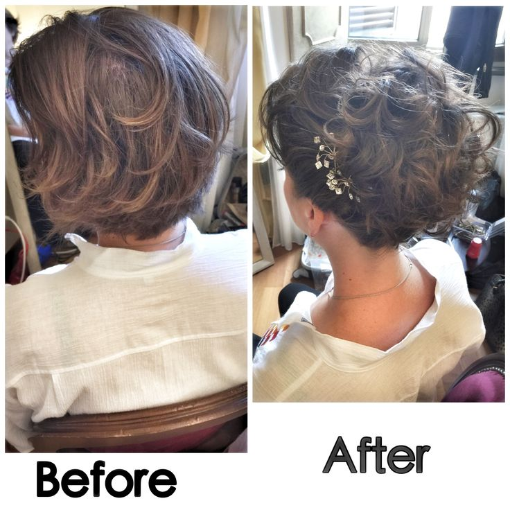 Before and after short updo