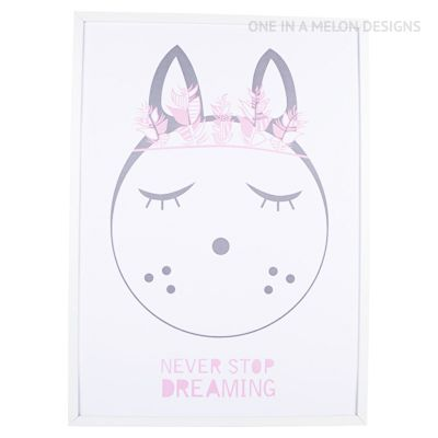 Pastel Pink & Grey Print for a special little dreamer | Girls Room | One In A Melon Designs