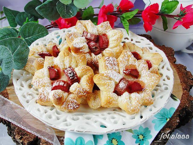 Ala piecze i gotuje: Ciasteczka francuskie z rabarbarem