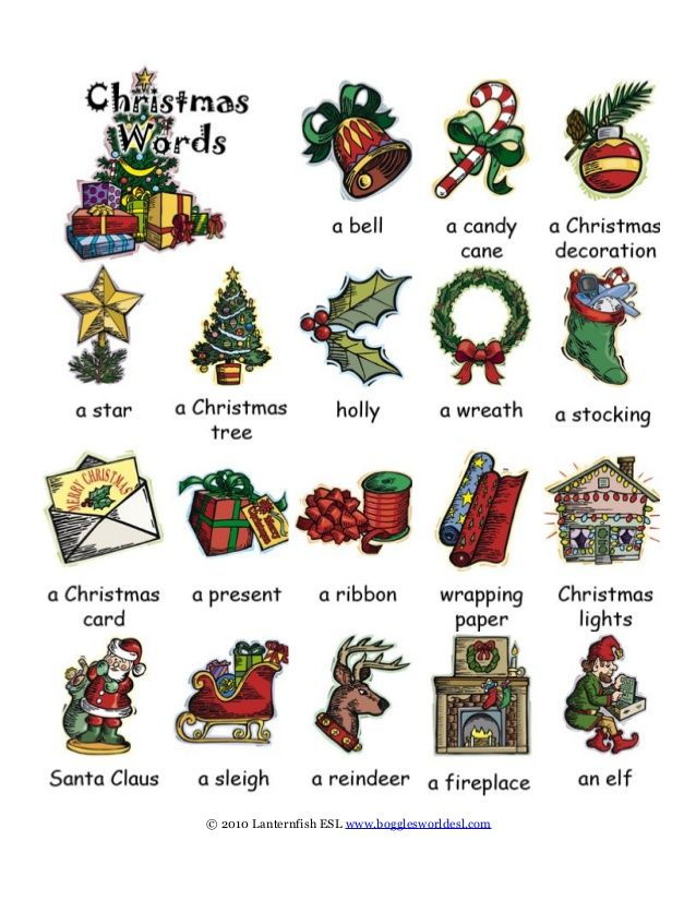 Christmas vocabulary with images to share - Google Search